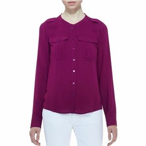 NWT Burberry Brit military blouse top fuchsia
